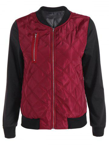 Chic Padded Two Tone Quilted Bomber Jacket RED L