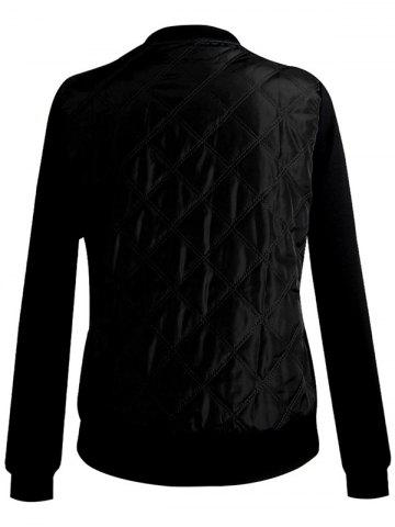 Fancy Padded Two Tone Quilted Bomber Jacket - M BLACK Mobile