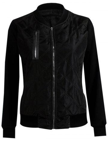 Affordable Padded Two Tone Quilted Bomber Jacket - M BLACK Mobile