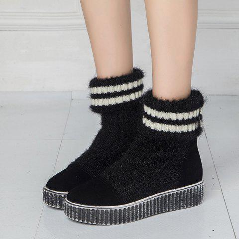 Sale Platform Suede Splice Knitted Sock Boots