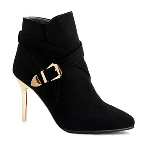 Outfit Pointed Toe  Buckle Strap Stiletto Heel Boots