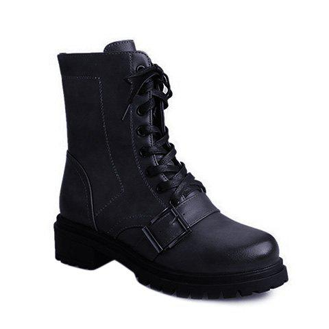 Store Vintage Buckle Lace-Up Combat Boots