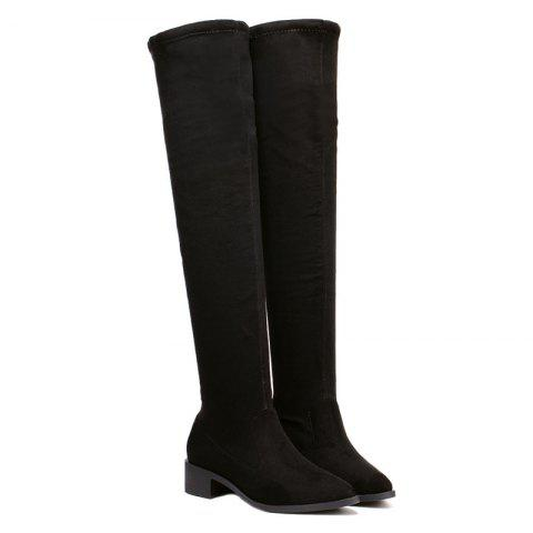 Buy Flock Chunky Heel Pointed Toe Thigh Boots