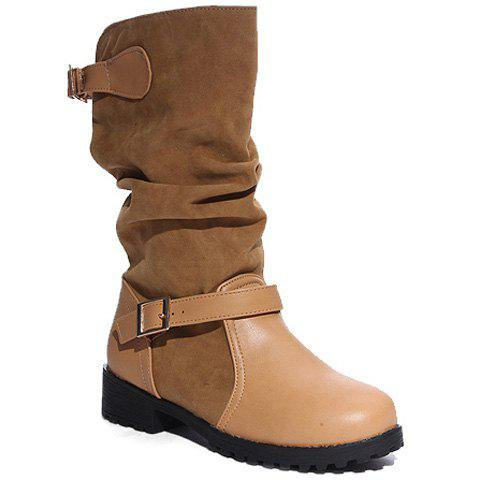 Latest PU Leather Spliced Flock Buckle Slouch Boots BROWN 40
