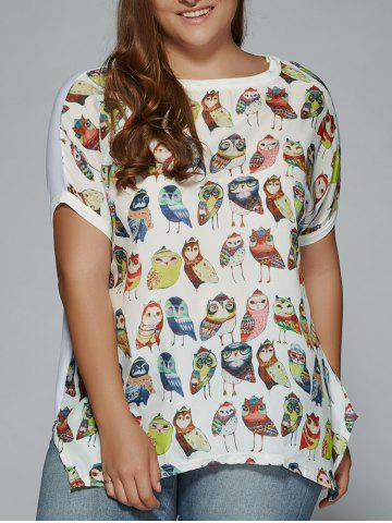 Hot Plus Size Night Owl Print Patchwork Furcal T-Shirt WHITE 3XL
