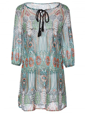 Store Tribal Print Tied-Up Chiffon Dress