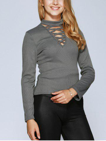 Chic Lace Up Long Sleeve Choker Top - XL GRAY Mobile