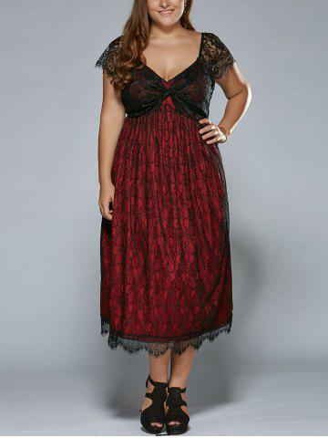 Plus Size Low Cut Empire Waist Lace Prom Dress - Red - Xl