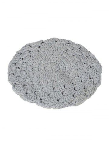 Latest Warm Hollow Out Crochet Knit Beret - LIGHT GRAY  Mobile