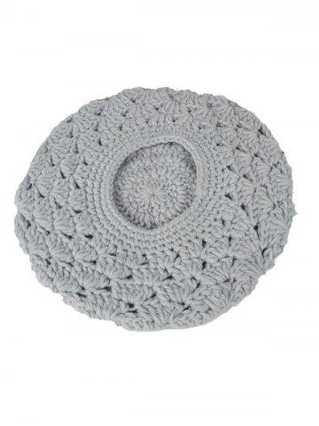 Affordable Warm Hollow Out Crochet Knit Beret - LIGHT GRAY  Mobile