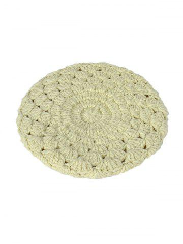 Store Warm Hollow Out Crochet Knit Beret - OFF-WHITE  Mobile