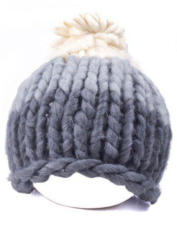Buy Warm Color Block Coarser Knit Snow Hat