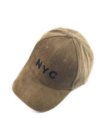 Autumn NYC Embroidery Corduroy Baseball Hat - Light Coffee - One Size