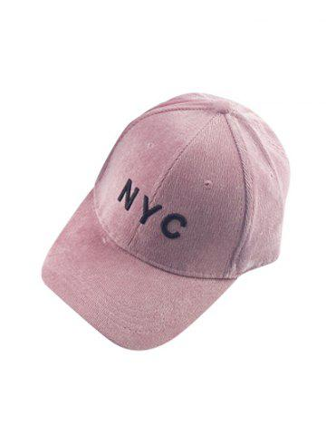 Trendy Autumn NYC Embroidery Corduroy Baseball Hat - PINK  Mobile