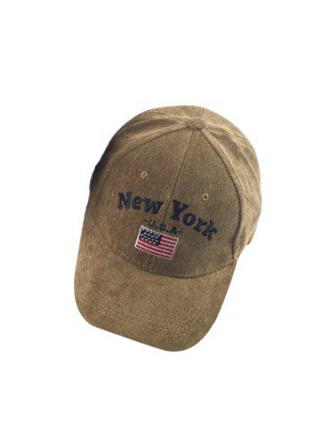 Autumn New York and USA Flag Embroidery Corduroy Baseball Hat - Coffee