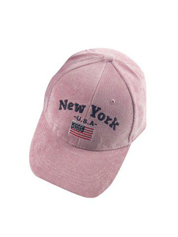 Online Autumn New York and USA Flag Embroidery Corduroy Baseball Hat -   Mobile