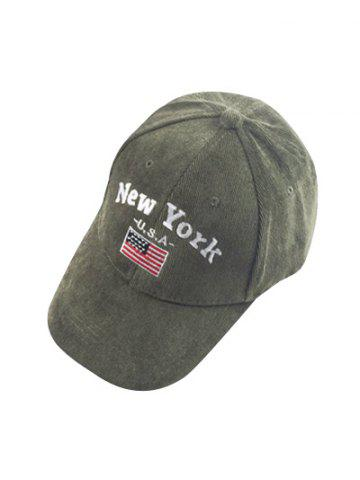 Discount Autumn New York and USA Flag Embroidery Corduroy Baseball Hat - ARMY GREEN  Mobile