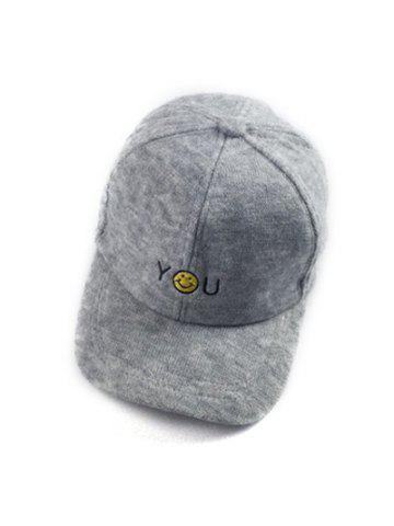 Best Autumn You Smile Face Embroidery Knit Baseball Hat