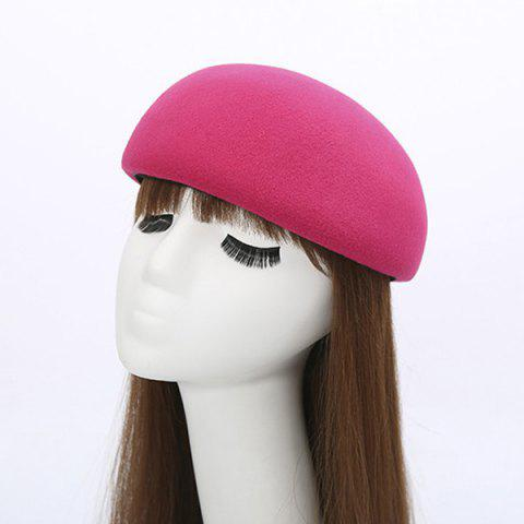 Trendy Winter Casual Half Melon Shape Felt Hat ROSE RED