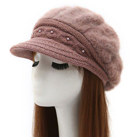 Unique Warm Faux Pearl Embellished Faux Fur Angora Newsboy Hat - LIGHT COFFEE  Mobile