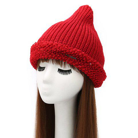 Online Winter Casual Label Double-Deck Crochet Thicken Knit Triangle Hat RED