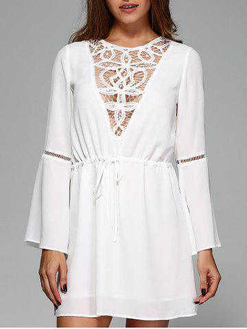 Outfits Lace Trim Drawstring Waist Dress