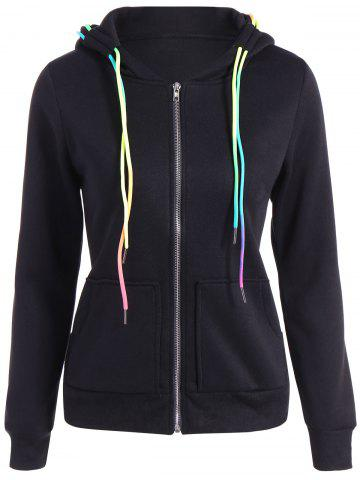 Sale Autumn Colorful Drawstring Hoodie BLACK 2XL