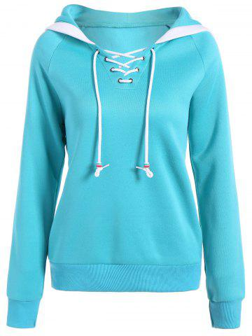 Discount Autumn Criss-Cross Drawstring Pullover Hoodie AZURE S
