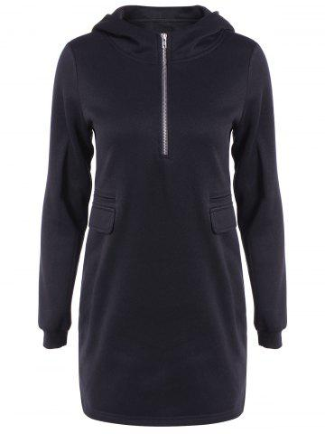Cheap Autumn Side Slit Zipper Long Pullover Hoodie