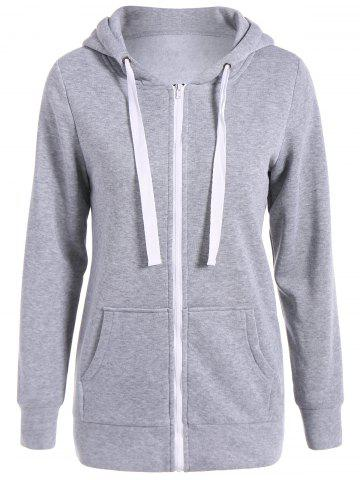 Shop Autumn Wide Drawstring Zipper Up Hoodie GRAY L