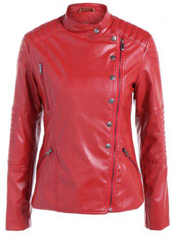 Latest Warm Buttons Zippers PU Biker Jacket