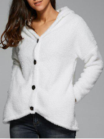 Fashion Button Up Hooded Fleece Coat