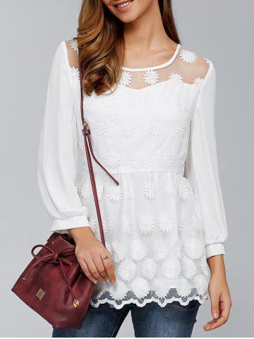 Online Tiny Floral Embroidery Organza Blouse