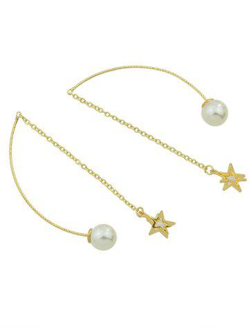 Discount Faux Pearl Star Chain Earrings