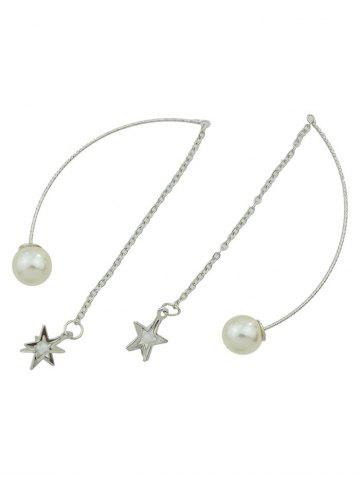 Outfits Faux Pearl Star Chain Earrings SILVER