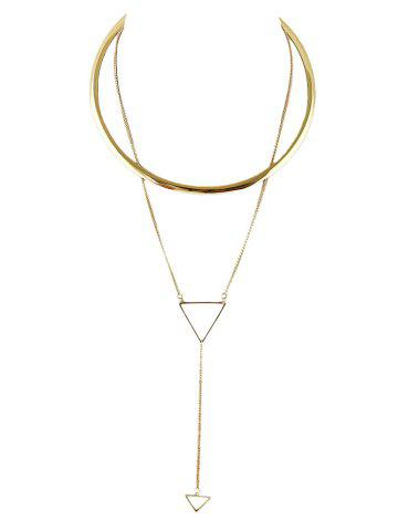 Hot Alloy Circle Triangle Choker GOLDEN
