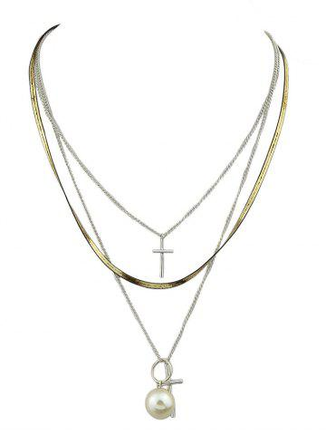 Fashion Faux Pearl Crucifix Layered Pendant Necklace SILVER