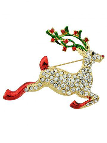 Shop Rhinestone Elk Christmas Brooch GOLDEN