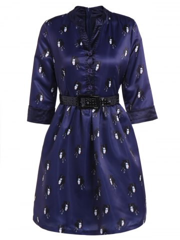 Discount Buttoned Face Print Belted Dress