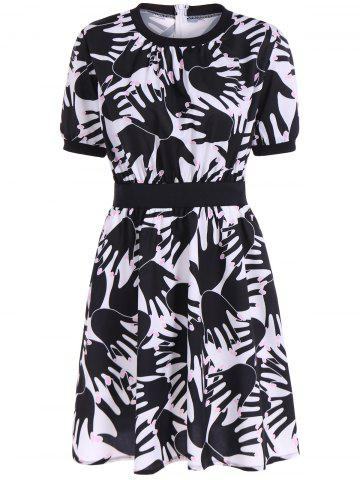 Outfits Hidden Zipped Hand Print Dress