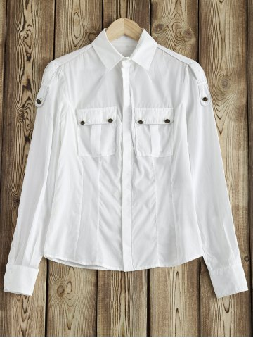Outfit Military Topstitched Camp Pocket Design Shirt