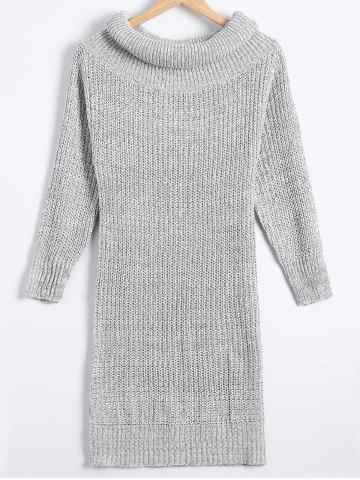 Chic Sheath Turtleneck Chunky Sweater Dress LIGHT GRAY ONE SIZE