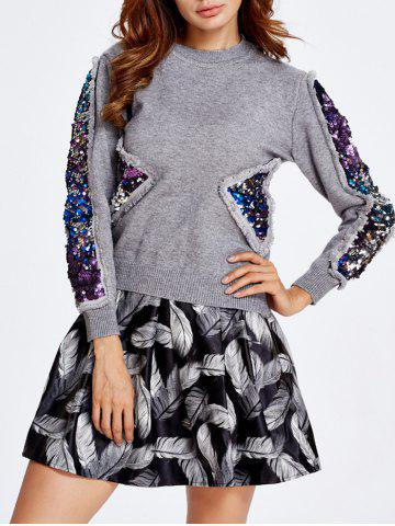 Chic Sequined Sweater and Feather Skirt Set