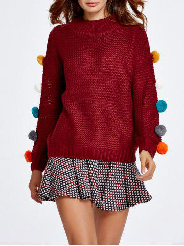 Latest Pompon Spliced Sweater and Dot Skirt Set