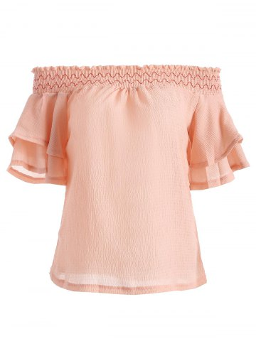 Best Off The Shoulder Holllow Out hirred Blouse