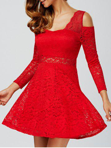 Unique Cold Shoulder See Through Long Sleeve Lace Skater Mini Dress RED ONE SIZE