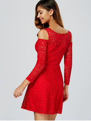 Outfits Cold Shoulder See Through Long Sleeve Lace Skater Mini Dress - ONE SIZE RED Mobile