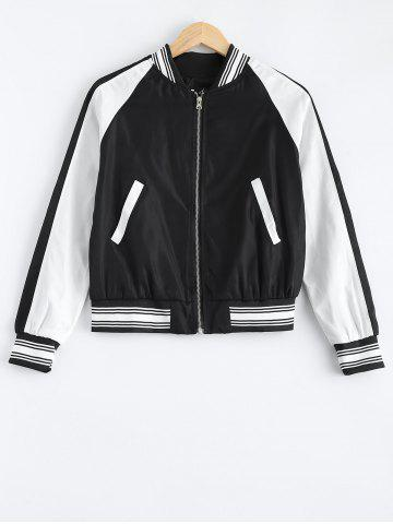 Outfit Baseball Color Block Zip Up Striped Jacket