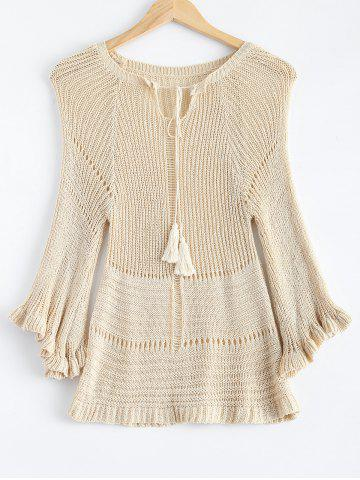 Fashion Bell Sleeve Pullover Openwork Sweater