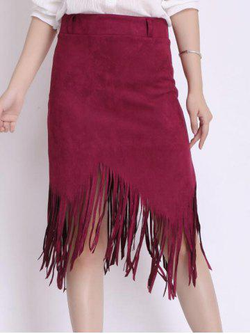 Shop Asymmetrical Fringed Suede Skirt